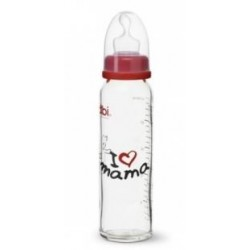 Bibi Glasflasche I love Mama, 240 ml