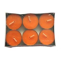 Rechaudkerzen orange, 12-er Set